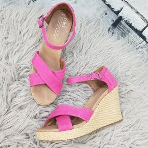 Toms Hot Pink Strappy Wedges size 9